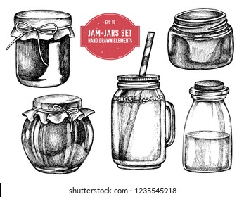 Vector collection of hand drawn black and white jars