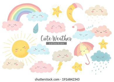 Vector collection with hand drawn cartoon sun, moon, rainbow, umbrella, rain, snow, clouds and stars isolated on white background. Cute weather characters illustration in cartoon simple style