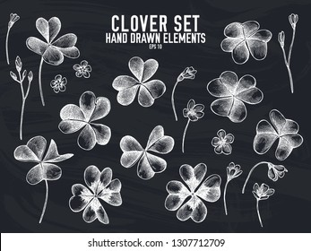 Vector collection of hand drawn chalk clover