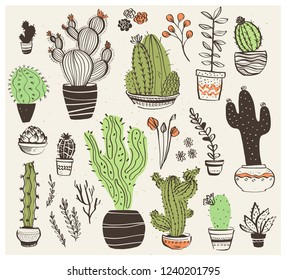 Vector collection of hand drawn different cactus shapes isolated on white background. Trendy sketch style. Perfect for patterns, decor, cards, packaging, logo, banners, ads, prints etc.