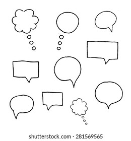 Vector Collection of Hand Drawn Doodle Style Speech Bubbles.
