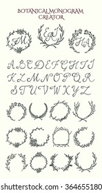 Vector collection of hand drawn floral wreath graphics and classic script font. Vector design kit to create beautiful botanical monograms.