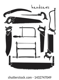 Vector collection of hand drawn handsaws used by carpenters. Beautiful design elements, ink drawing. Perfect for any industry related to the woodworking.