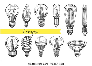 Vector collection with hand drawn lamps on the white background