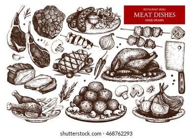 Vector collection of hand drawn meat  illustration. Restaurant or butchery design elements. Vintage food sketch set. Outlines