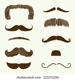 Vector collection of hand drawn mustaches | Cartoon mixed brown moustache silhouettes set