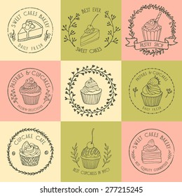 Vector collection of hand drawn pastry badges. Beautiful vector graphics for pastry shops, cafes or any business related to the catering. Icons, badges and labels design. Hand drawn elements.
