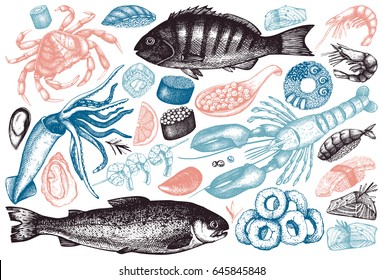Vector collection of  hand drawn Seafood illustration - fresh fish, lobster, crab, oyster, mussel, squid ring, caviar, sushi. Vintage food sketch set. Menu template