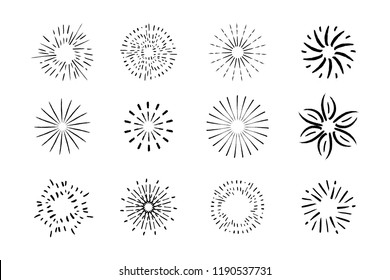 Vector collection of hand drawn sunbursts