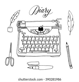 The vector collection of hand drawn writing tools. Typewriter, feather, ink, pen, pencil. Doodle. Sketch.