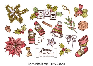 Vector collection of hand-drawn Christmas elements in vintage graphic style.  Doodle style. Hand draw artwork. Christmas tree branches, hat and mittens, poinsettia, mistletoe, winter decor