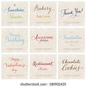Vector collection of handwritten calligraphic lettering on grungy beige retro paper background
