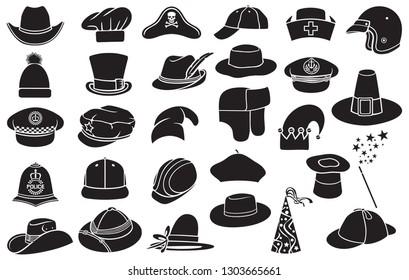 Vector collection of hats: cowboy, pirate, baseball cap, gentleman, chef, medical nurse, police officer, beret, magician, safari, hunter, pilgrim, Sherlock Holmes, ranger, hunter