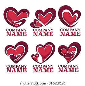 vector collection of heart, hands and love logo, concept, labels and forms