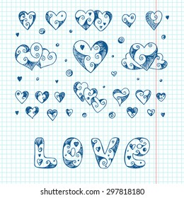 Vector collection of heart icons. Hearts. Love. Hand drawn doodles  illustration. Happy Valentine's day.