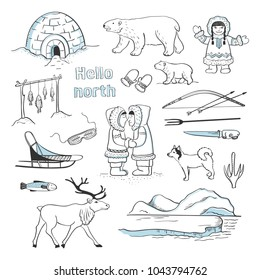 Vector collection Hello north. Isolated sketches of Inuit,  Arctic landscape and northern animals on white background