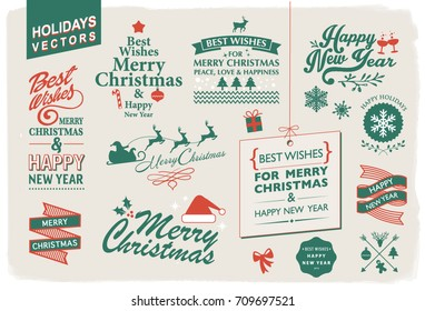 VECTOR COLLECTION FOR THE HOLIDAYS. Christmas and new year wishes. Typographic and graphic design elements. For your graphic projects, printed cads or mail.