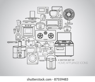 A vector collection of home appliance icons and line illustrations.