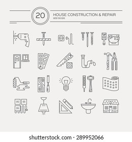 Vector collection of house repair icons, including electric, plumbing tools. Modern line style labels of house remodel gear and elements. Building, construction graphic design. Repair tools.