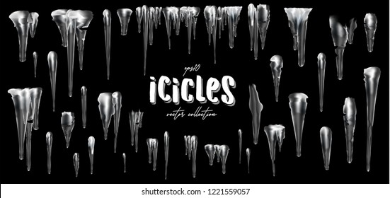 Vector collection of icicles, isolated on background, transparent, ice. 3d Winter decorations, Christmas, snow texture, white elements, holiday design, vector snow icicles.