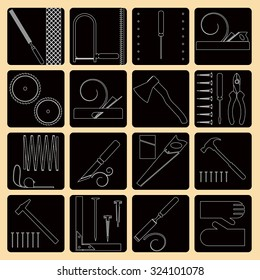 Vector collection of icons of joiner's tools. Repair tools. Modern line style labels.