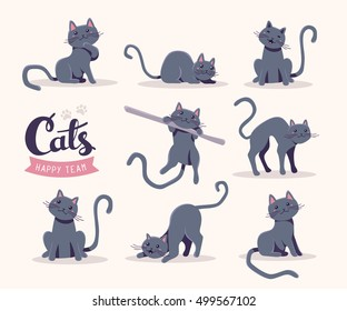 Vector collection of illustration of cute gray cat in various poses and text with cat paw prints on white background. Flat style design for greeting card, poster, web, site, banner, sticker, logo