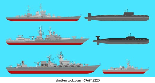 Vector collection of illustrations: of cruisers, anti-submarine ship,  missile ship and underwater nuclear cruisers isolated on blue background. Flat style. Good for advertisement, banners, posters.