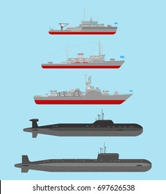 Vector collection of illustrations of underwater nuclear cruisers, small artillery ship and minesweeper  isolated on blue background. Flat style. Good for advertisement, banners, posters and cards.