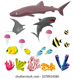 Vector collection of inhabitants and objects of sea fauna isolated on white background