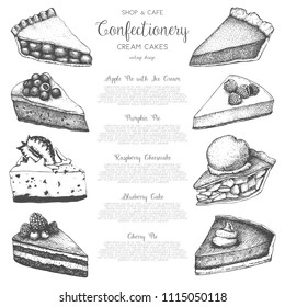 Vector collection of ink hand drawn fruit and berry baking illustration. Vintage design with traditional cake, tart and pie sketch. Sweet bakery menu