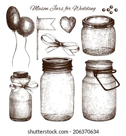 Vector collection of ink hand drawn mason jars for wedding decoration. Vintage decorative glass canning jars and wedding design element isolated on white.