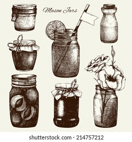 Vector collection of ink hand drawn mason jars. Vintage decorative glass canning jars with flower, fruits, jam isolated on vintage background. Wedding or holiday design.