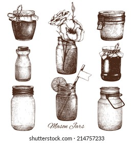 Vector collection of ink hand drawn mason jars. Vintage decorative glass canning jars with flower, fruits, jam isolated on white. Wedding or holiday design.