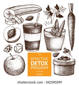 Vector collection of ink hand drawn diet sketch. Vintage healthy food illustration. Detox program elements collection