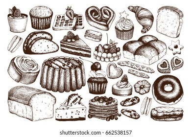 Vector collection of ink hand drawn baking illustrations. Vintage set of bread and pastries sketch. Bakery or bakehouse menu design on white background
