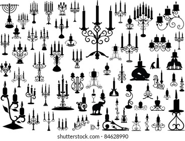 Vector collection of isolated candlesticks
