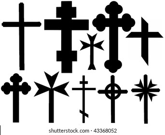 Vector collection of isolated christian crosses