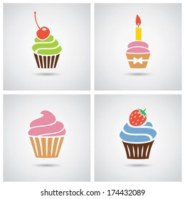 vector collection of isolated colorful cupcakes icons