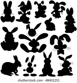 vector collection of isolated easter bunny