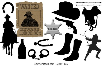 vector collection of isolated elements for cowboy life