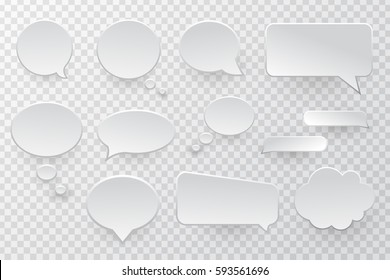 Vector collection of isolated speech bubbles on the transparent background