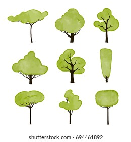vector collection of isolated watercolor trees