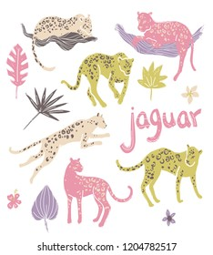Vector collection of jaguars. Going, staying, sleeping, jumping. Tropic wild animals and plants in folk naive style.