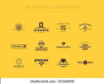 Vector collection of jewelry and diamond logo icon. Flat crystal company insignia template. Vintage and fashion logo design.
