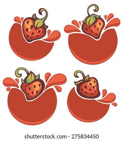 vector collection of juice stickers and strawberry symbols for your text