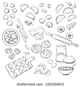 Vector collection of kinds of dumplings. Hand drawings on white background
