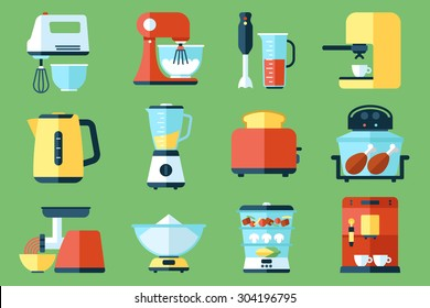Vector collection of kitchen appliances icons. Flat style.