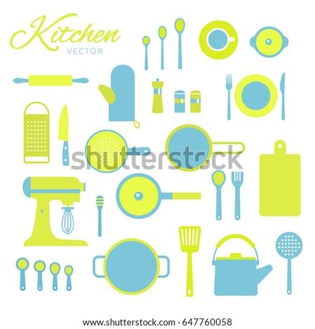 a8e23ff3a9 Vector collection kitchen elements. Set cook icons. Flat design. White  background isolated.