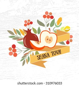 """Vector collection of label and elements for Rosh Hashanah. Icon or badge with signature """"Shana Tova"""".Flower template for postcard, invitation card with floral wreath"""