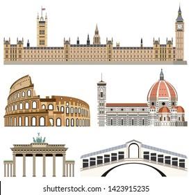 Vektorgrafik von Wahrzeichen-Symbolen: Schloss Westminster, Kolosseum, Florenz-Kathedrale, Brandenburger Tor und Rialto-Brücke